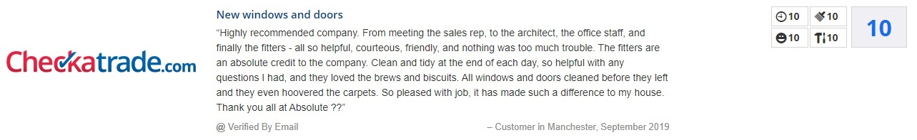 checkatrade review absolute window co